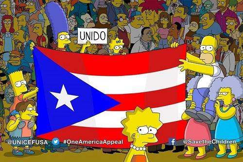 「ザ・シンプソンズ」は10月1日の新シーズン初回エピソードの最後にプエルトリコ旗を登場させた。マージが持つスペイン語のメッセージ「UNIDO」は「UNITED、ひとつになった、団結した」の意。