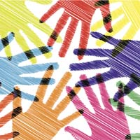 Multicolored hand prints touching