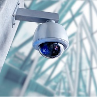 Security, CCTV camera for office building at night
