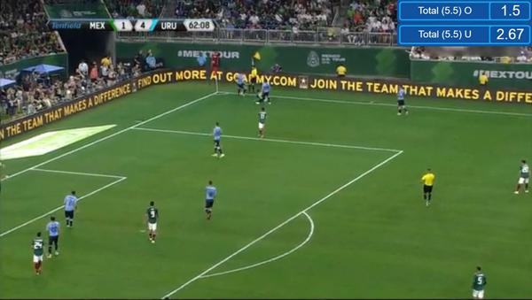 メキシコ対ウルグアイのサッカー親善試合の様子